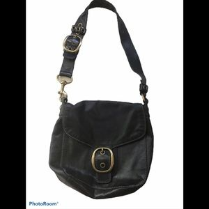 COACH Bleecker Legacy Black Leather Flap H…